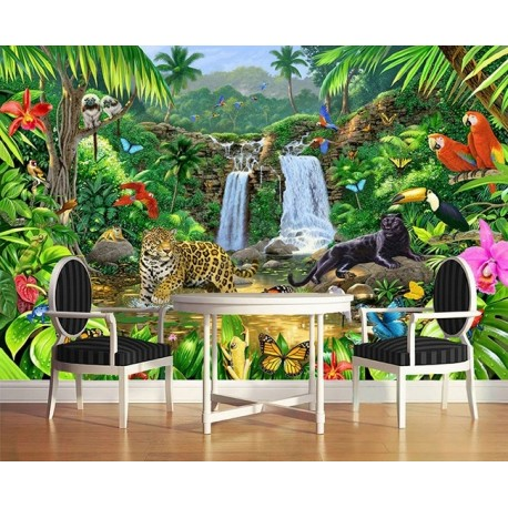 Panth re perroquet plante tropicale d coration murale for Decoration murale jungle