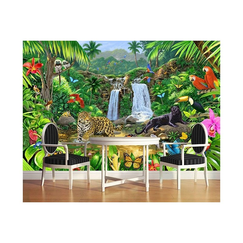 Panth re perroquet plante tropicale d coration murale paysage jungle sticker - Papier peint tableau ...