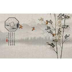 Papier peint japonais paysage zen - Les bambous et les oiseaux sur fond gris