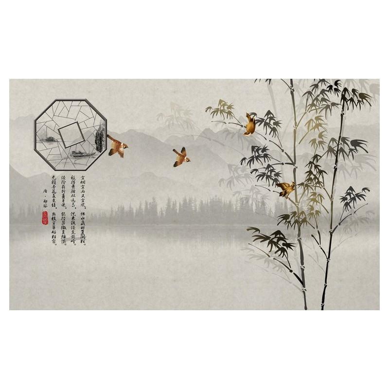 tapisserie paysage zen salle manger style asiatique les bambous et les oiseaux sur fond gris. Black Bedroom Furniture Sets. Home Design Ideas