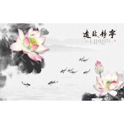 Papier peint japonais paysage zen - Les lotus roses et les poissons sur fond gris