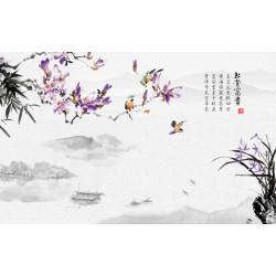 Papier peint chinois paysage zen - Les magnolias violets, les orchidée et les bambous