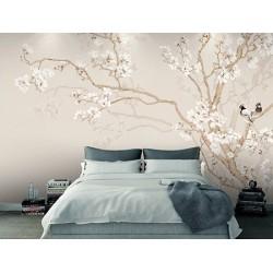 Tapisserie asiatique fleurs et oiseaux - Les magnolias blancs et les oiseaux sur fond beige