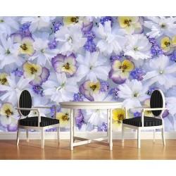 Papier peint photo macrophotographie - Les fleurs tricolores et les fleurs blanches