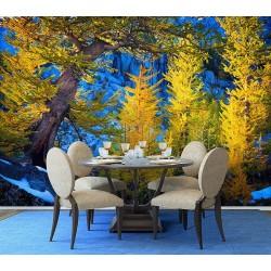 Tapisserie panoramique paysage nature - Forêt de conifères en hiver
