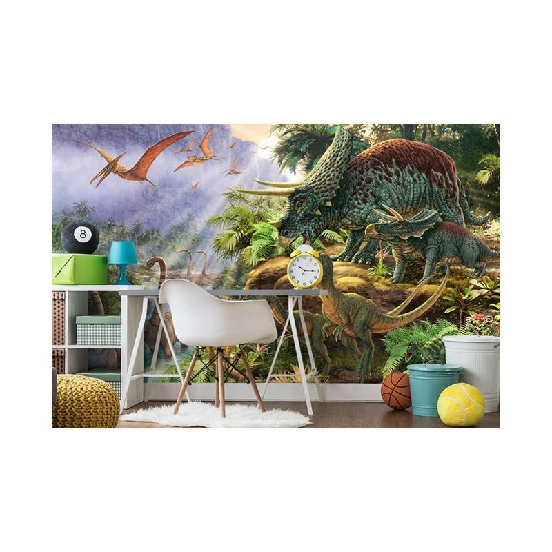 D coration murale chambre d 39 enfant papier peint panoramique xxl les dinos - Ikea tapisserie murale ...