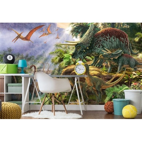 d coration murale chambre d 39 enfant papier peint panoramique xxl les dinosaures dans la vall e. Black Bedroom Furniture Sets. Home Design Ideas