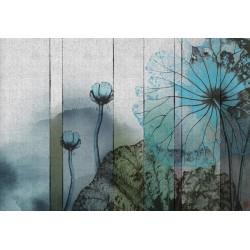 Tapisserie japonaise zen aspect ancien effet sur textile - Les lotus bleus