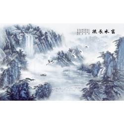 Paysage asiatique zen ton bleu porcelaine - La montagne avec les chutes d'eau