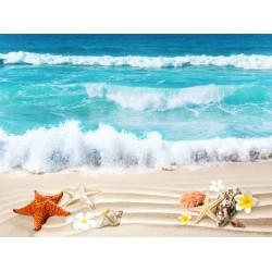 Echantillon revêtement de sol vinyle auto-adhésif 0.3mm épaisseur - Les coquillages sur la plage