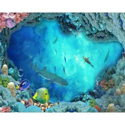 Echantillon revêtement de sol vinyle auto-adhésif 0.3mm épaisseur - Paysage fond marin le requin et les poissons