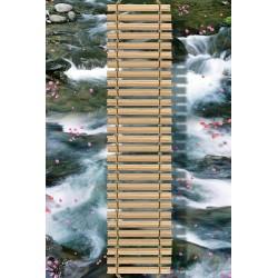 Echantillon revêtement de sol vinyle auto-adhésif 0.35mm épaisseur - Passerelle sur la rivière avec les pétales de rose