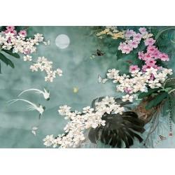 Tapisserie asiatique fleurs et oiseaux - Les orchidées, les papillons et les oiseaux blancs