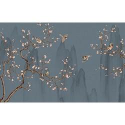 Tapisserie asiatique - Paysage avec les fleurs et les oiseaux sur fond bleu gris