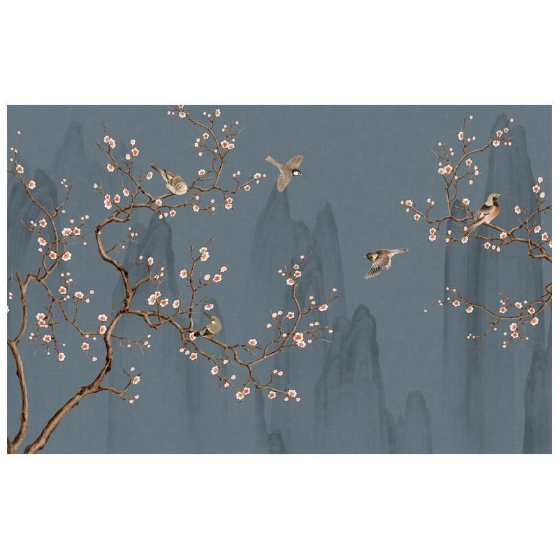 peinture japonaise fleurs et oiseaux tapisserie zen papier peint sol 3d. Black Bedroom Furniture Sets. Home Design Ideas