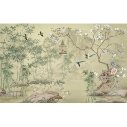 Tapisserie asiatique zen - Paysage avec les fleurs, les oiseaux et les bambous