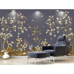 Tapisserie florale asiatique - Les magnolias, les oiseaux et les papillons sur fond violet foncé