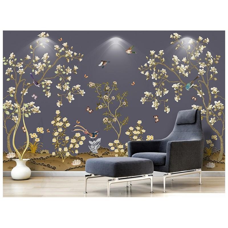 Panneau Japonais Floral Zen Magnolia Oiseau Papillon Papier Peint