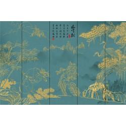 Papier peint japonais réalisé avec les traits dorés - Les grues du Japon, les bambous et les cerfs