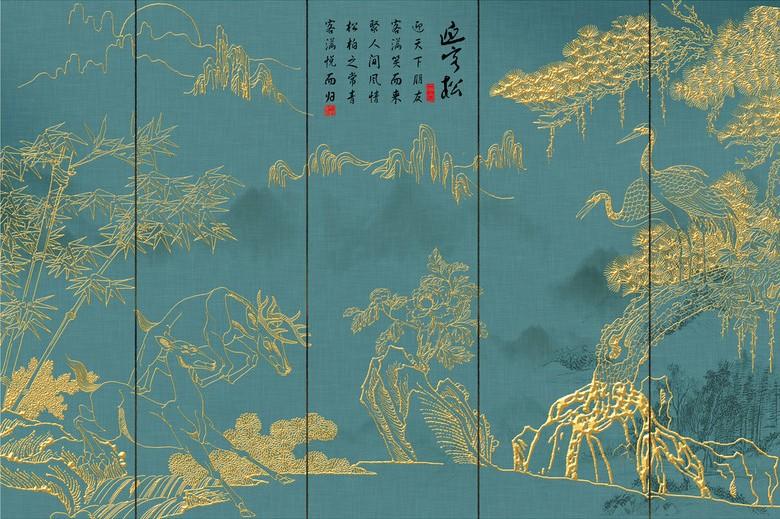 Peinture Japonaise Doree Sur Fond Vert Grue Bambou Papier Peint Sol 3d