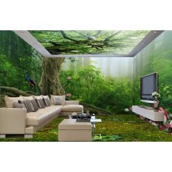 Décoration murale grand panoramique - Le faisant dans la forêt