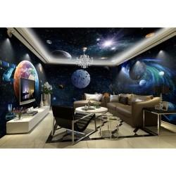 Décoration murale grand panoramique paysage univers - Les planètes et la galaxie spirale