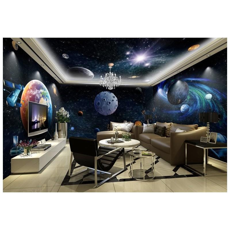 Décoration murale grand panoramique paysage univers , Les planètes et la  galaxie spirale