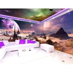 Décoration murale grand panoramique paysage univers - Dans une autre planète