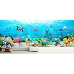Décoration murale grand panoramique paysage fond marin - Les daupins, les coraux et les poissons