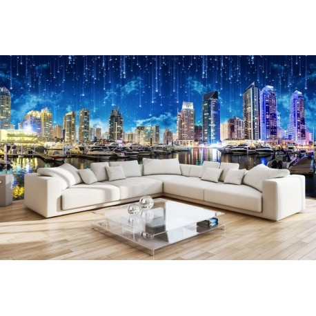 Sticker g ant xxl papier peint photo paysage ville nuit for Decoration murale blanche