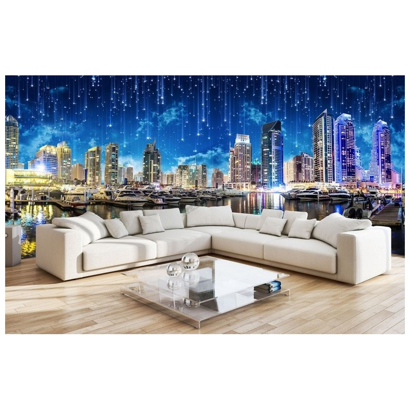 Sticker g ant xxl papier peint photo paysage ville nuit for Decoration murale ville
