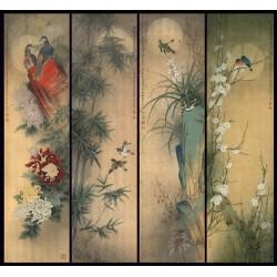 Peinture asiatique ancienne - Paravent aux fleurs et aux oiseaux de 4 saisons