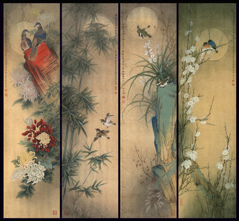 Assez papier peint vintage tapisserie asiatique paravent aux fleurs et  KA56