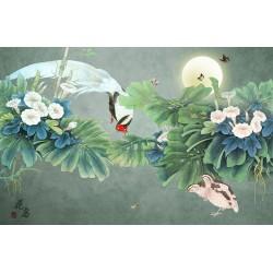 Peinture asiatique zen fleurs et oiseaux - Les ipomées, le faisant et les papillons