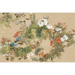 Peinture asiatique ancienne tapisserie florale - Les fleurs florissantes