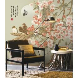 Peinture asiatique zen fleurs et oiseaux - Les fleurs de cerisier, les oiseaux et les papillons dans la nuit