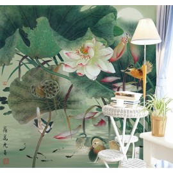 Peinture asiatique zen - Les lotus, les oiseaux, les poissons et les canards mandarins dans la nuit