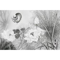 Tapisserie asiatique zen - Les lotus en noir et blanc