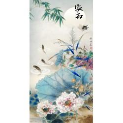 Peinture asiatique format portrait - Les lotus, les poissons et le papillon dans la nuit