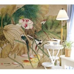 Peinture asiatique ancienne - Les lotus, les oiseaux, les poissons et la libellule