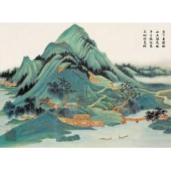 Peinture asiatique ancienne ton vert paysage zen - Les maisons dans la montagne