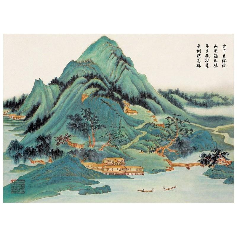 peinture asiatique ancienne papier peint japonais paysage de la montagne papier peint sol 3d. Black Bedroom Furniture Sets. Home Design Ideas