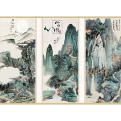 Peinture asiatique ancienne ton vert - Paysage de la montagne