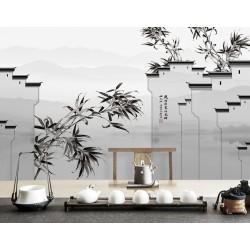 Paysage asiatique en noir et blanc - Maisons traditionnelles avec les bambous