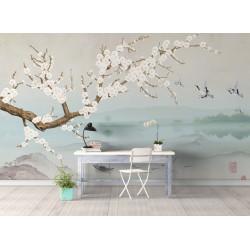 Papier peint japonais - Paysage avec les fleurs de Mei, les grues du japon et les poissons