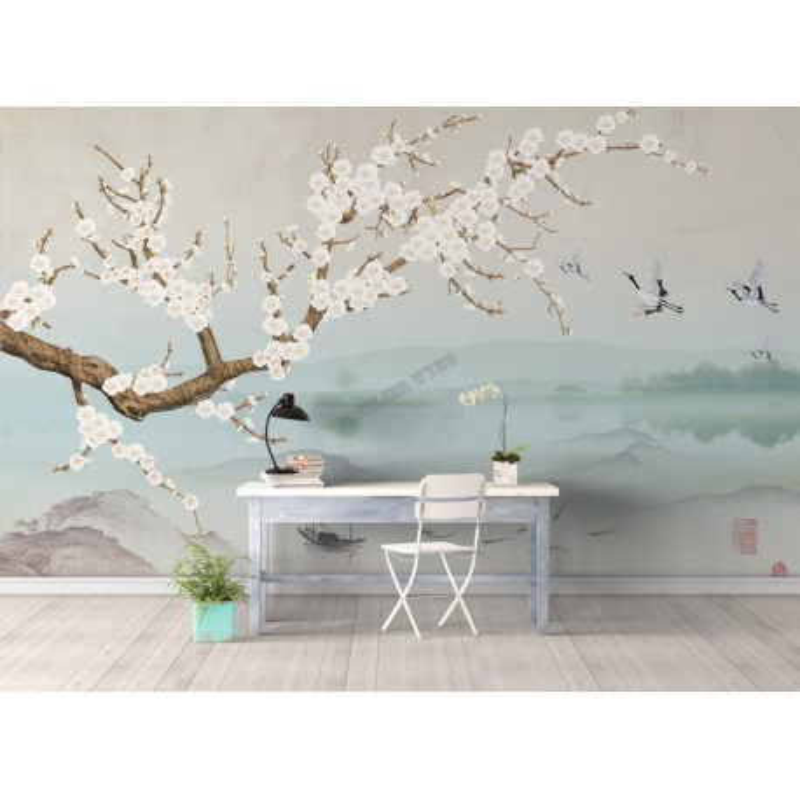 Papier Peint Intisse Japonais Tapisserie Murale Zen Paysage Avec Les