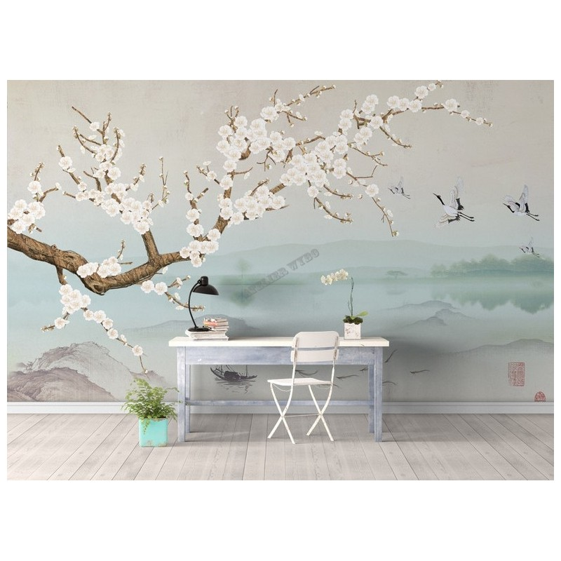 papier peint intiss japonais tapisserie murale zen. Black Bedroom Furniture Sets. Home Design Ideas