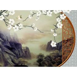 Papier peint japonais trompe l'oeil 3D - Paysage avec les fleurs et les oiseaux