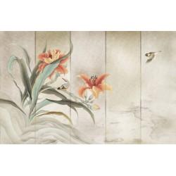 Papier peint vintage peinture japonaise ancienne - Les lys du Japon et les oiseaux