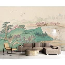 Papier peint d'artiste peinture japonaise ton vert - Paysage de printemps